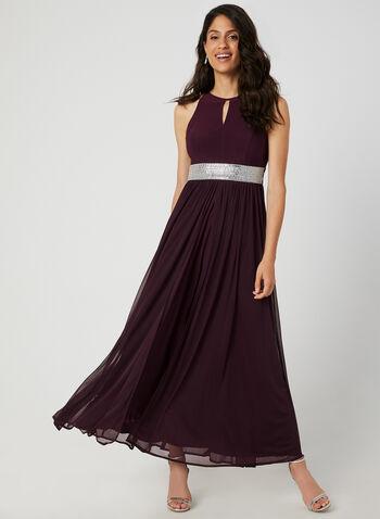 Chiffon Overlay Dress, Red, hi-res,  occasion dress, sleeveless, keyhole, rhinestones, jersey, chiffon, fall 2019, winter 2019