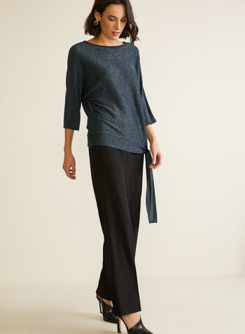 Dollman Sleeve Sweater With Tie, Blue,  fall winter 2020, metallic threads, lurex, shiny, sparkly, 3/4 sleeves, dolman, tie, holiday
