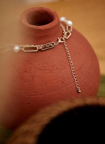 Collier court à double rang, Blanc cassé,  accessoires, bijoux, collier, collier court, double rang, ajustable, fermoir mousqueton, chaîne, anneaux, perles, doré, automne hiver 2021