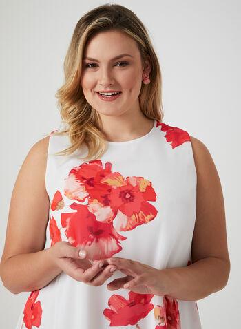 Jessica Howard - Robe en mousseline à imprimé floral, Blanc cassé, hi-res,  sans manches, trapèze, printemps 2019