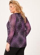 Geometric Print Cold Shoulder Top, Purple, hi-res