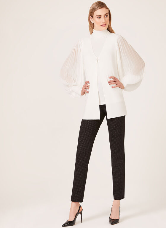 Pleated Sleeve Cardigan, Off White, hi-res