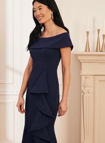 Long Off-The-Shoulder Dress, Blue,  evening dress, wedding dress, dress, long dress, ruffled dress, off-the-shoulder, spring 2020, summer 2020