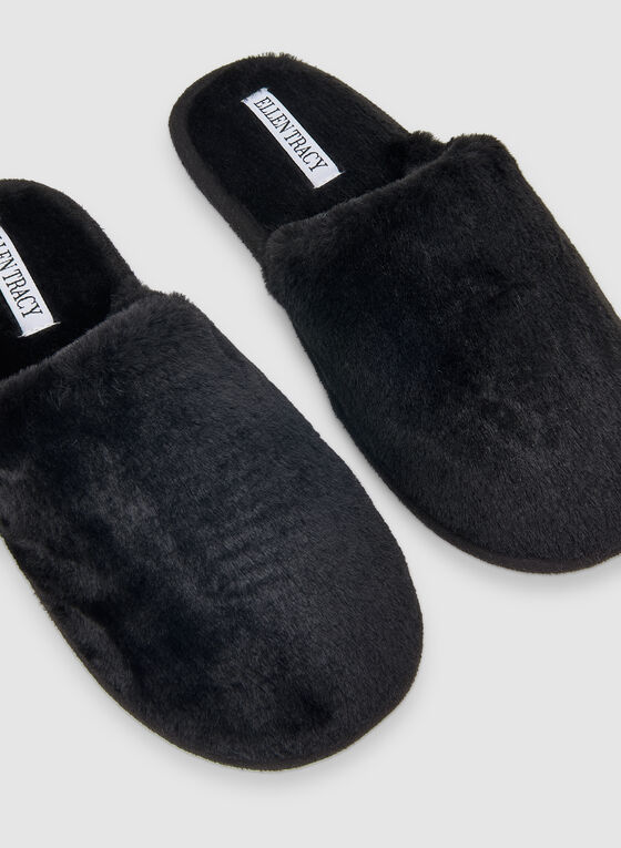 Ellen Tracy - Faux Fur Slippers, Black