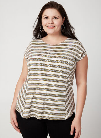 Chain Print Top, White, hi-res,  canada, drop sleeve, sleeveless, short sleeve, blouse, top, viscose, scoop neck, chain print, stripes, fall 2019, winter 2019