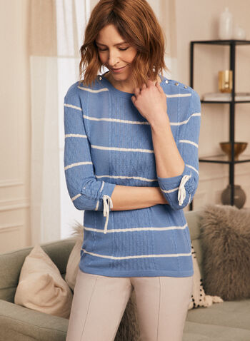 Stripe Motif Drawstring Detail Sweater, Blue,  sweater, knit, cable, stripe, boat neck, 3/4 sleeves, drawstring, fall winter 2020