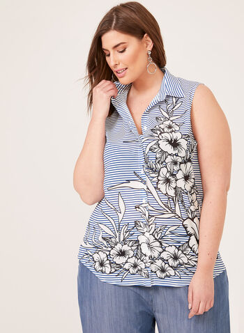 Ness – Sleeveless Stripe Floral Print Blouse, Black, hi-res