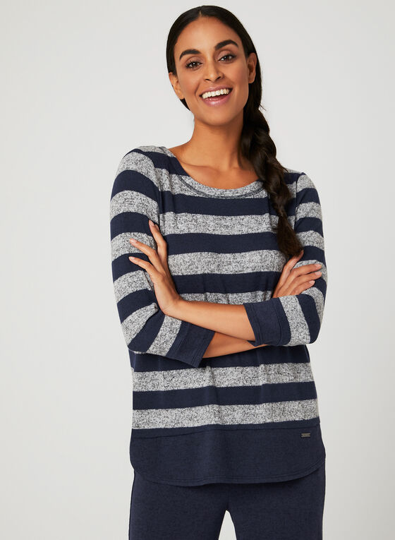 Stripe Print Sweater, Blue, hi-res