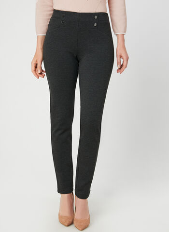 Pantalon pull-on coupe cité , Gris, hi-res,  pantalon, pull-on, cité, faux boutons, point de Rome, automne hiver 2019