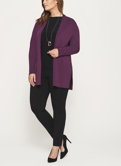 Open Front Oversize Knit Cardigan, Purple, hi-res