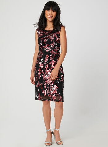 Metallic Floral Print Dress, Black,  floral print, cocktail dress