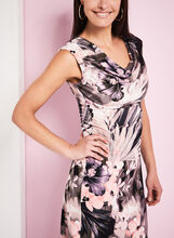 Cowl Neck Floral Print Dress, Purple, hi-res