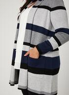 Cardigan long ouvert à rayures , Bleu, hi-res