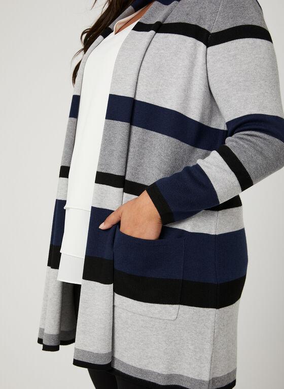 Stripe Print Open Front Cardigan, Blue, hi-res