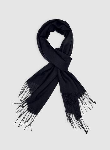 Foulard pashmina à franges, Bleu, hi-res,  foulard, pashmina, franges, printemps été 2019