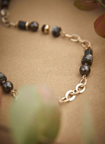 Collier à chaîne, perles et pierres, Vert,  accessoires, bijoux, fait au canada, ajustable, fermoir mousqueton, mélange, chaîne, perles, pierres, résine, doré, automne hiver 2021