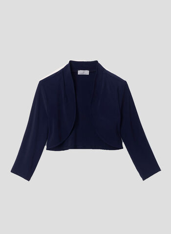 Open Front ¾ Sleeve Bolero, Blue, hi-res,