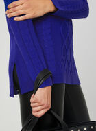 Boat Neck Cable Knit Sweater, Blue, hi-res