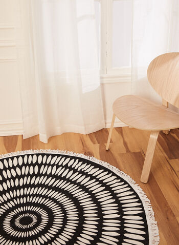 Serviette de plage ronde à motif géométrique, Noir,  serviette, plage, pique-nique, ronde, motif, imprimé, coton, géométrique, franges, printemps été