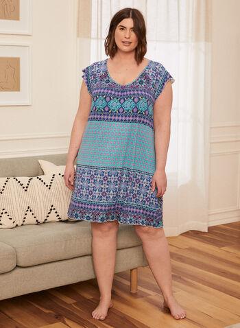 Paisley Print Nightgown, Blue,  spring summer 2021, pyjamas, pajamas, sleepwear, night dress, night gown, paisley print, multi media print, geometric print, made in Canada, v neck,
