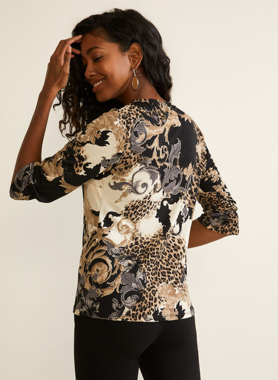 Baroque Print ¾ Sleeve Top, Black