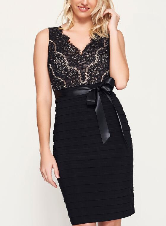Jersey Shutter Tuck Dress, Black, hi-res