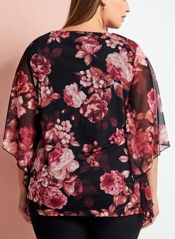 Blouse fleurie à manches fendues et drapées, Rouge, hi-res