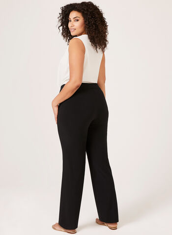 Pantalon pull-on à jambe large en jersey, Noir, hi-res,  dress pants