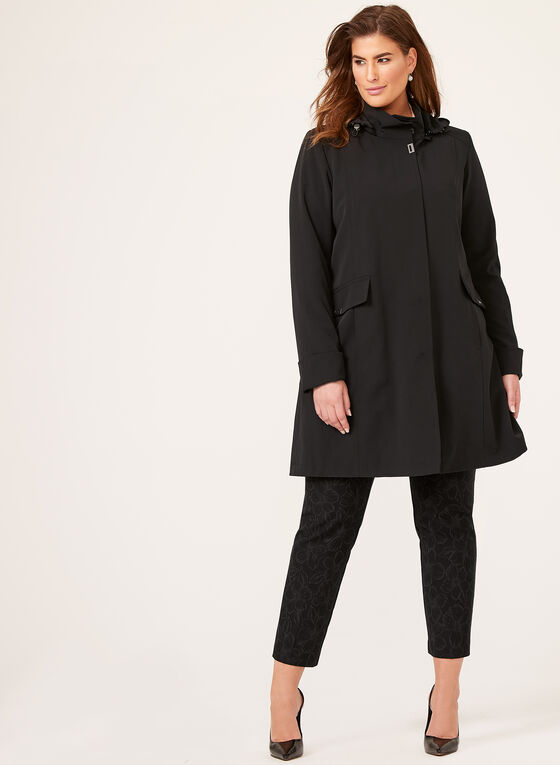 Manteau imperméable avec capuchon, Noir, hi-res