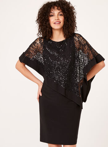 Sequined Lace Poncho Dress, Black, hi-res