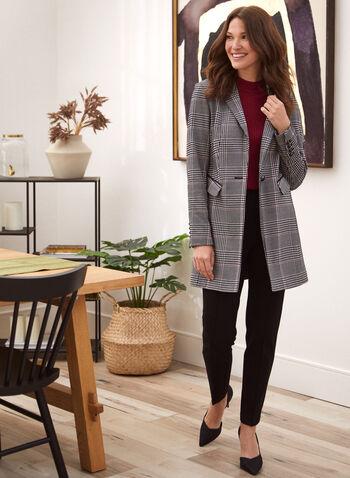 Slim Leg Pull-On Pants, Black,  pants, slim, faux leather, rivets, pockets, fall winter 2020