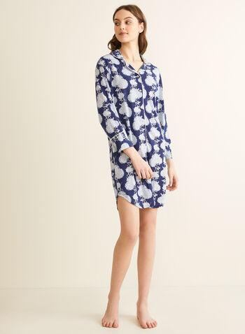 Comfort & Co. - Chemise de nuit boutonnée, Bleu,  printemps été 2020, chemise de nuit, pyjama, Comfort & Co.