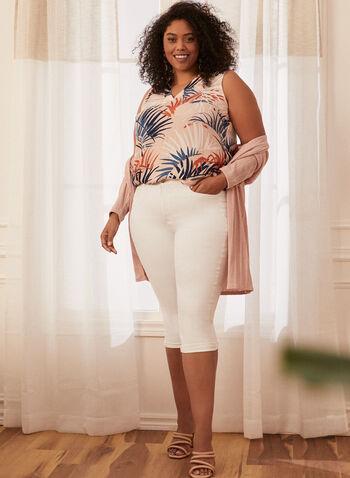 Sleeveless Leaf Print Blouse, Pink,  blouse, sleeveless, leaf print, v-neck, spring 2020, summer 2020