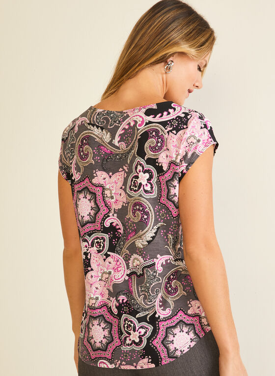 Medallion Print Cap Sleeve Top, Multi