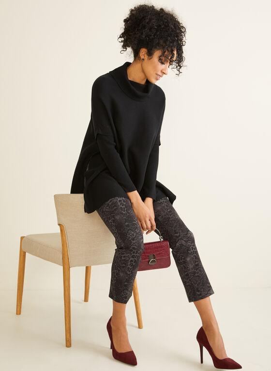 Knit Poncho Top, Black