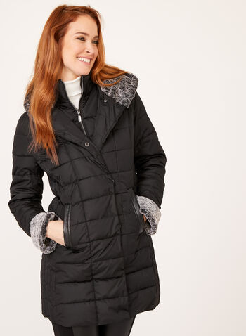 Hooded Faux Down Coat, Black, hi-res