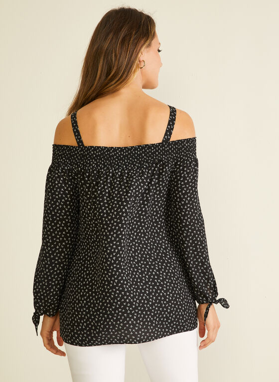 Floral Off-the-Shoulder Blouse, Black