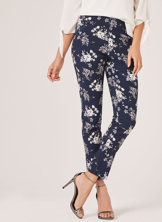 Floral Print Slim Leg Pants, Blue, hi-res