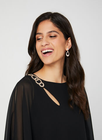 BA Nites – Crystal Detail Poncho Dress, Black, hi-res,  cocktail dress, jersey dress