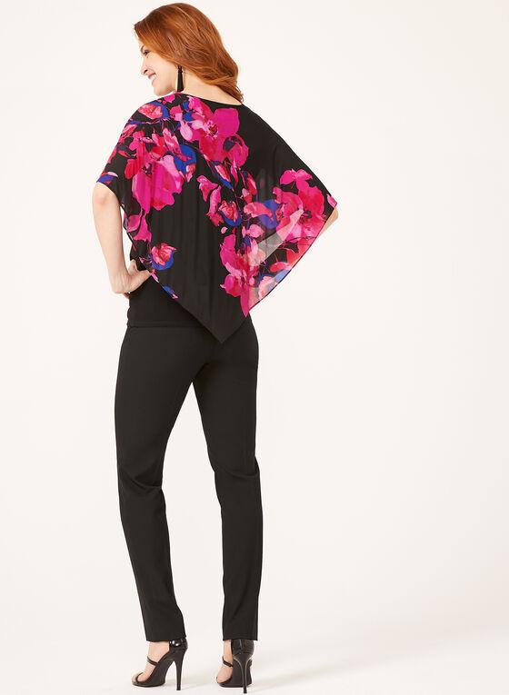 Floral Print Poncho Blouse , Multi, hi-res