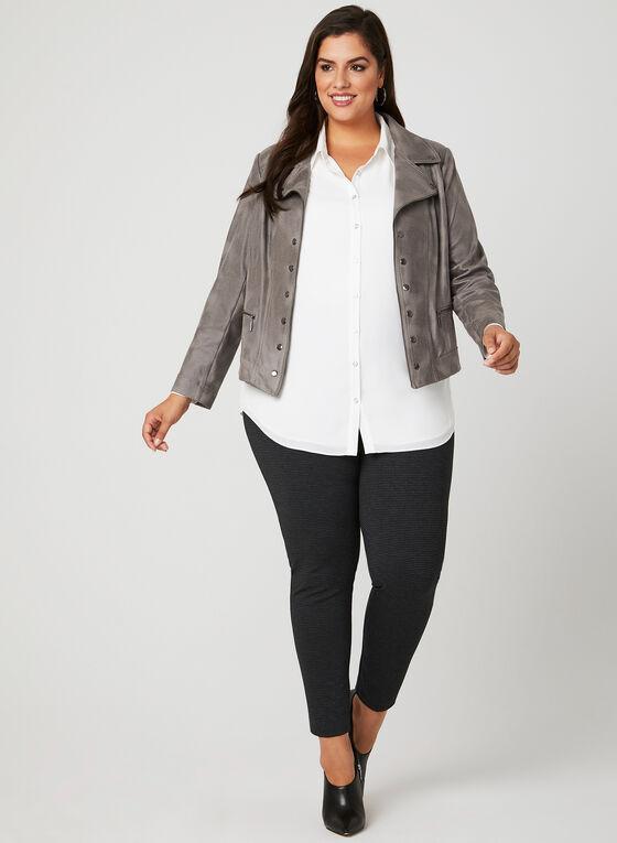 Faux Crackled Leather Jacket, Grey, hi-res
