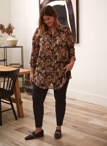 Floral Print Button Down Tunic, Black,  fall 2021, shirt, top, blouse, tunic, button down, front, shirt collar, long sleeves, puffed sleeves, rounded hem, side slits, floral print, flowers, autumn, chiffon, light, fabric