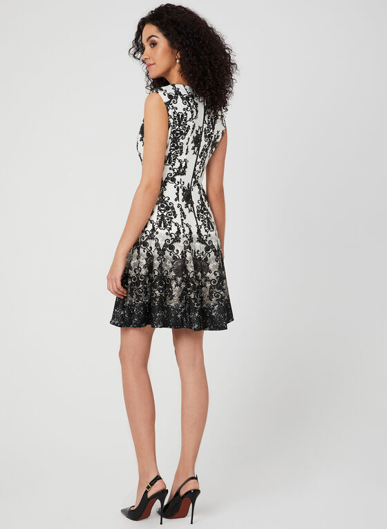 Baroque Print Fit & Flare Dress, Black