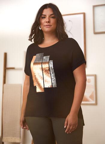 T-shirt à formes géométriques et sequins, Noir,  t-shirt, haut, encolure arrondie, manches courtes, épaules tombantes, imprimé géométrique, sequins, détails métalliques, fentes, printemps été 2021