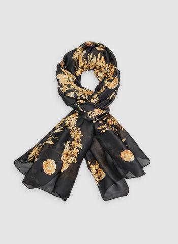 Foulard à motif de couronnes de fleurs, Noir, hi-res