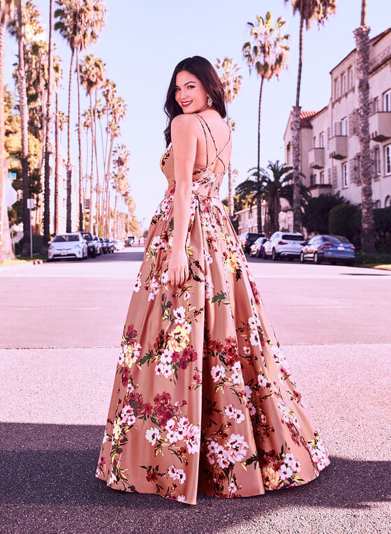 Floral Print Ball Gown, Pink