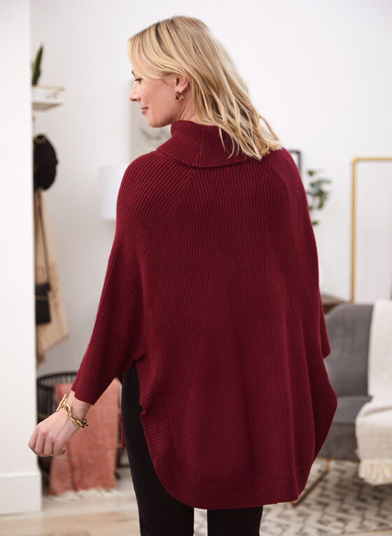 Cowl Neck Knit Poncho Sweater, Red