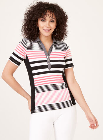 Striped Cotton T-Shirt, Black, hi-res