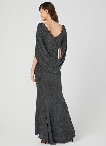 Draped Metallic Gown, Black, hi-res