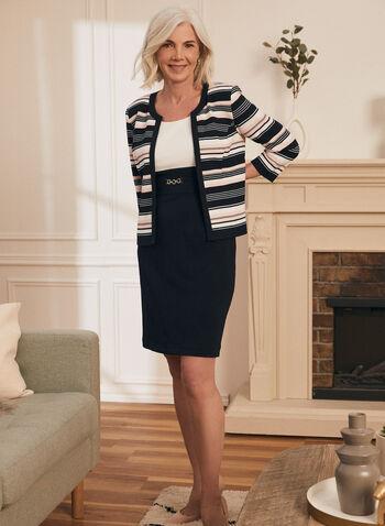 Dress & Jacket Set, Blue,  spring summer 2021, stripe print, sheath dress, waffle knit jersey, metallic detail, sleeveless,